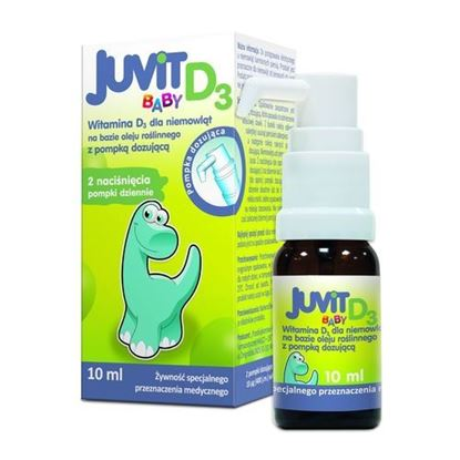 Picture of Juvit Baby D3, krople, witamina D3, dla niemowląt, 10 ml