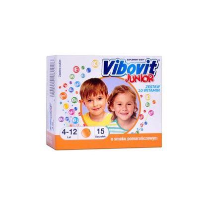 Picture of Vibovit junior, dla dzieci w wieku od 4 do 12 lat, smak pomarańczowy, 14 saszetek