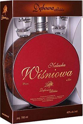 Picture of Debowa Nalewka Wisniowa Buklak + 2x Kieliszki hunter flask