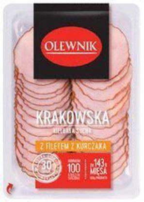 Picture of KIELBASA KRAKOWSKA SUCHA Z FILETEM Z KURCZAKA PLASTRY 90G OLEWNIK