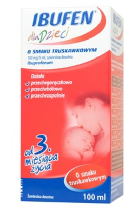 Picture of Ibufen dla dzieci o smaku truskawkowym (100 mg/ 5 ml),zawiesina doustna, 100 ml